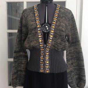 Brushed Melange Knit Cardigan With Gem Trim
